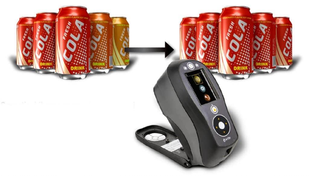 controllo colore lattine cola con spettrofotometro Xrite