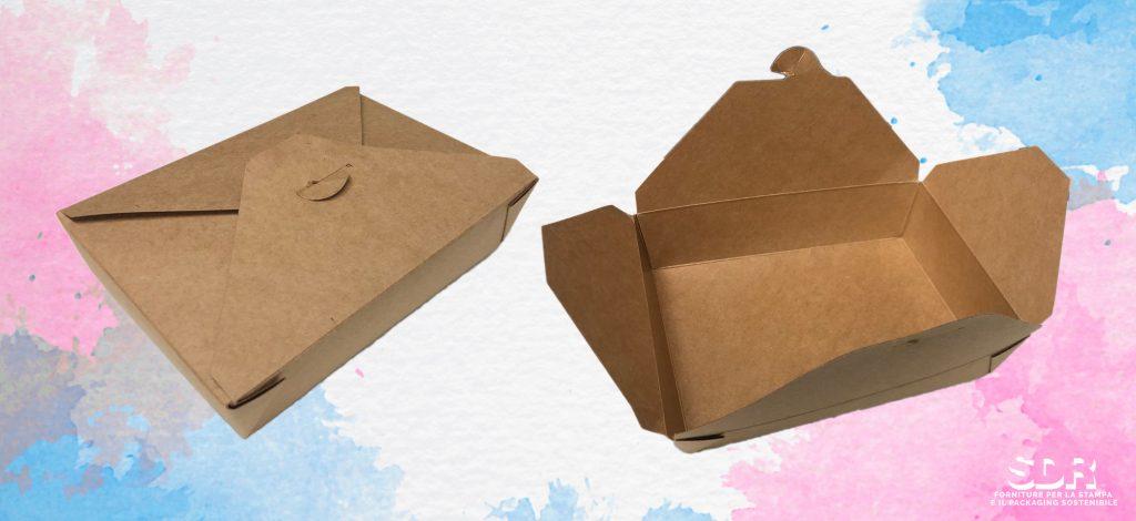 Food packaging: astuccio in cartoncino incollato con adesivi compostabili e certificati per il contatto con gli alimenti