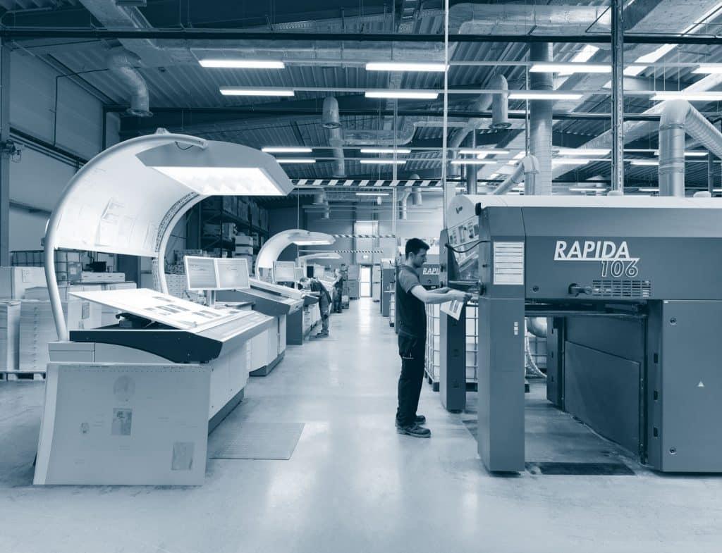 Tre Rapida 106 in fila: ecco come appare la sala stampa di Druckerei Rindt