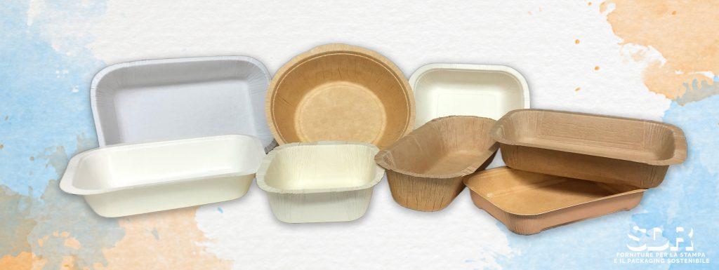 Vaschette e contenitori in carta termoformati. Colore avana e bianche.