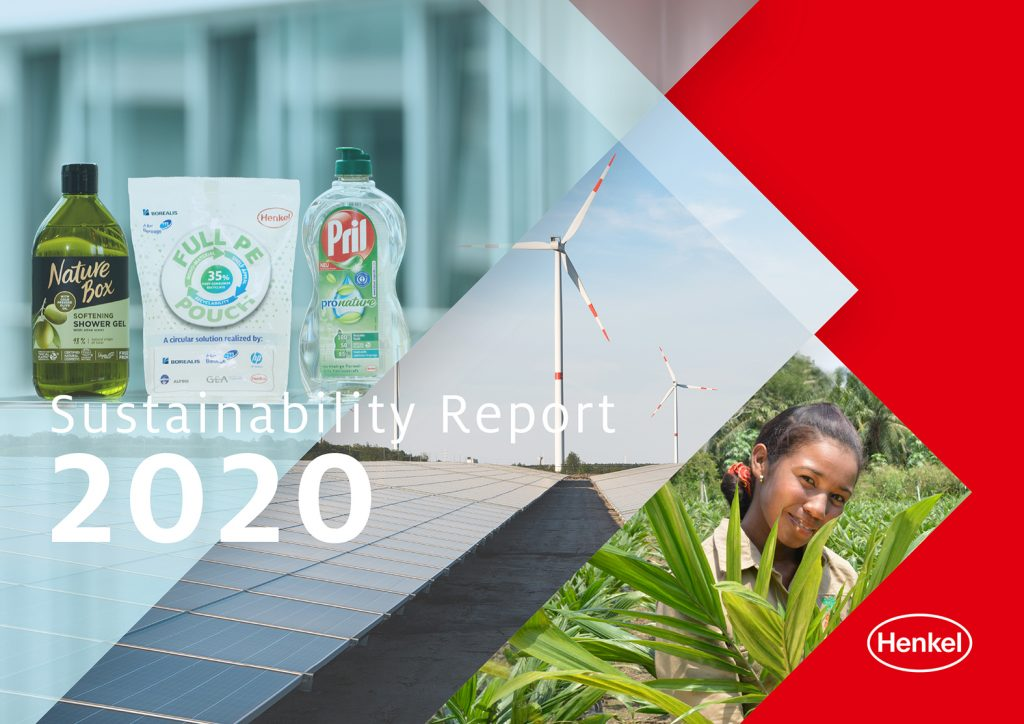 Copertina del Sustainability Report 2020 di Henkel