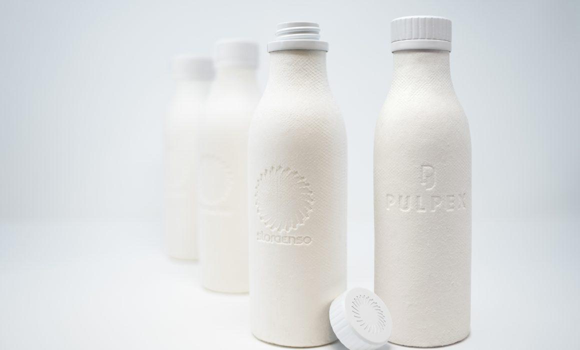 Prototipi di bottiglie in fibra formata by StoraEnso e Pulpex