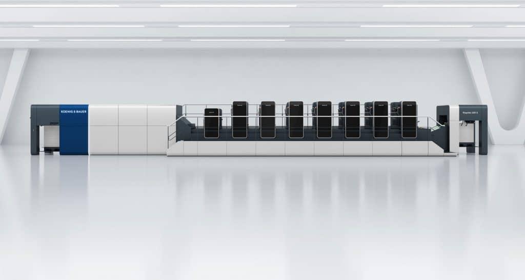 Una Rapida 106 X con sette unità di stampa e torre di verniciatura